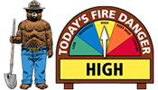 "When the fire danger is ""low"" it means that fuels do not ignite easily from small embers, but a more intense heat source, such as lightning, may start fires in duff or dry rotten wood.  Fires in open, dry grasslands may burn easily a few hours after a rain, but most wood fires will spread slowly, creeping or smoldering.  Control of fires is generally easy."